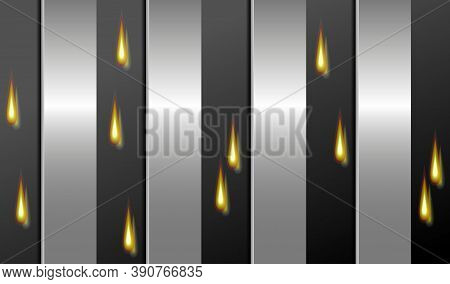 Technology Background. Black Perforated Metal Surface, Steel Stripes And Fire Drops. Vector Eps10