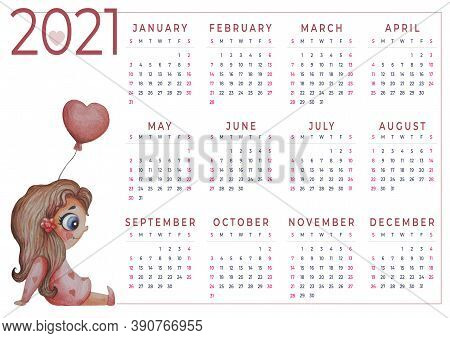 Calendar 2021 Watercolor. Annual Calendar For 2021. Watercolor. Cute Girl Sitting With A Balloon In