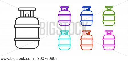 Black Line Propane Gas Tank Icon Isolated On White Background. Flammable Gas Tank Icon. Set Icons Co