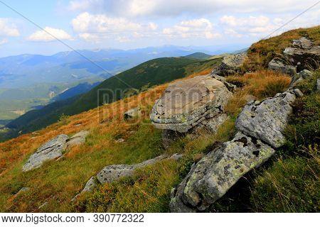 old stones on mountain slope in Carpathians. Take it in Ukraine