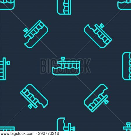 Green Line Beach Pier Dock Icon Isolated Seamless Pattern On Blue Background. Vector