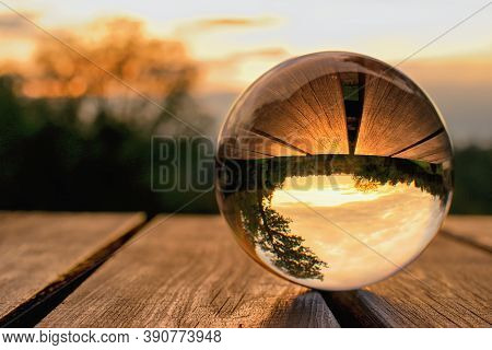 Lens Ball Creative Photography, Autumnal Landscape Reflection