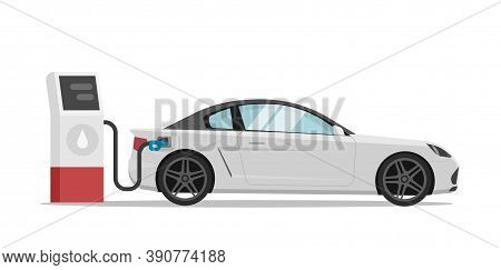 Gas Fuel Petrol Station With Car Vehicle Refueling On Modern Vector Flat Cartoon Style Illustration,