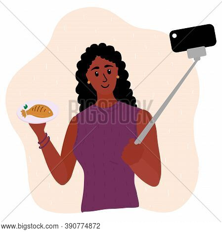 Black African Woman Food Blogger Making Photo Selfie With Fried Fish For Blog. Cute Girl With Smartp