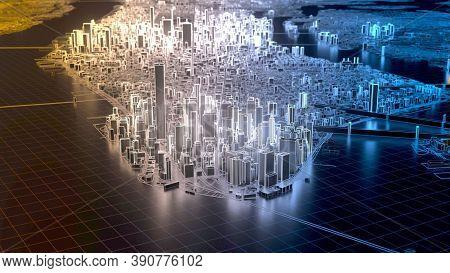Digital Technology Background. Modern Futuristic Blue Hi Tech Background. Technology Background With