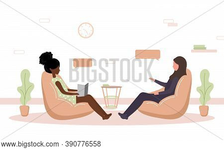 Psychotherapy Practice And Psychological Help. African Woman Supports Arab Female With Psychological