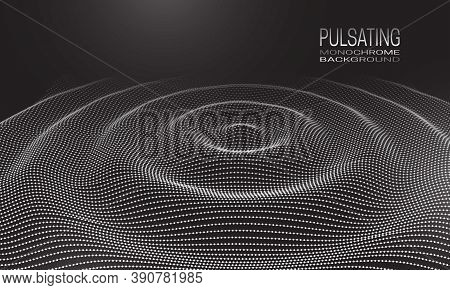 Pulsating Monochrome Background Design With Wavy Ripple Of Dots And Lines. Abstract Cyberspace Backg