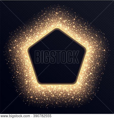 Golden Pentagonal Frame With Sparkles And Flares, Abstract Luminous Particles, Background With Brigh