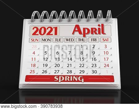 3d Illustration. Calendar -  April 2021  (clipping Path Included)