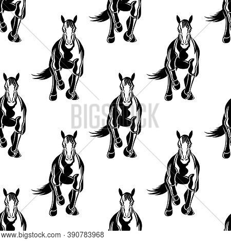 Seamless Pattern With Galloping Horses On White Background.