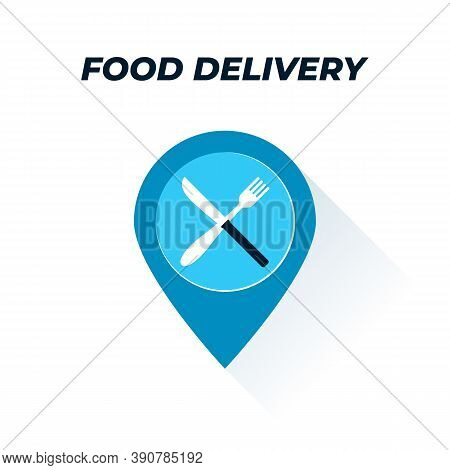 Tracking Food Flat Icon. Vector Illustration Of A Location Sign With Fork And Knife Symbol On It. Re
