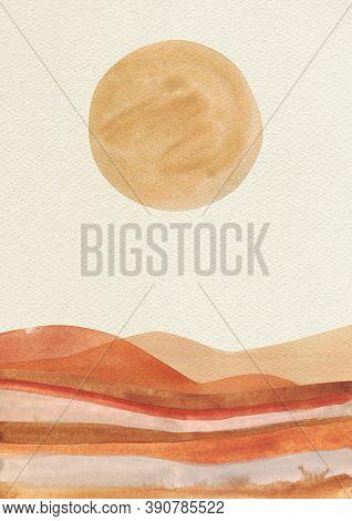 Orange Sun Circle, Beige Sky, Terracotta Desert Landscape. Abstract Modern Poster. Watercolor Simple
