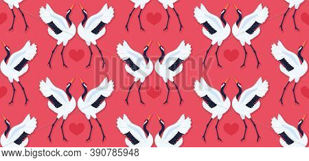 Seamless Pattern With Pair Of Red Crowned Cranes And Heart. Repeating Red Background With Dancing Ea