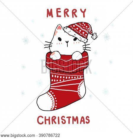Cute Carton Doodle Cat In Christmas Red Sock, Merry Christmas, Flat Vector Clip Art, Idea For Greeti