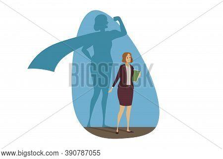 Business, Motivation, Superhero, Success, Leadership Concept. Confident Happy Businesswoman Clerk Ma
