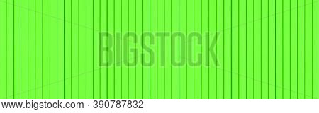Panorama Of Green Corrugated Metal Background And Texture Surface Or Galvanize Steel