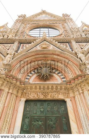 Detail Of The Famous Duomo Di Siena, Or Cathedral Of Siena