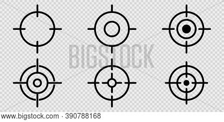 Sniper Aim On Transparent Background. Target Icons In Black. Focus Symbol In Circle. Isolated Gun Sh
