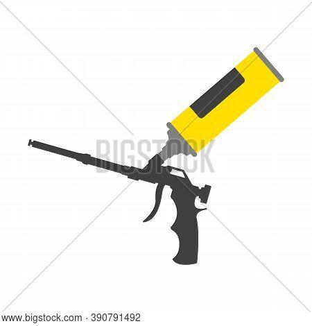 Yellow Polyurethane Mounting Foam Packaging Tube With Foam Gun Icon. Construction Tool Icon.