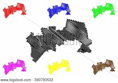 Soacha City (republic Of Colombia, Department Of Cundinamarca) Map Vector Illustration, Scribble Ske