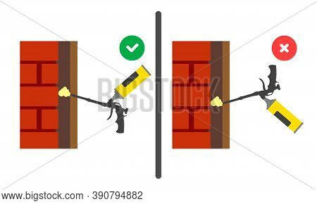 Application Of Polyurethane Foam With A Gun. Instructions For Use. Right And Wrong Use Of Mounting T