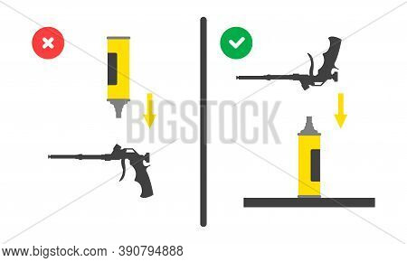 Position Of The Balloon During Installation Of The Assembly Gun. Right And Wrong Use Of Mounting Too