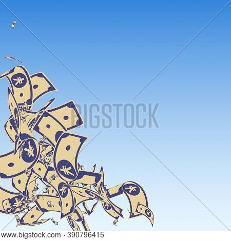 Chinese Yuan Notes Falling. Messy Cny Bills On Blue Sky Background. China Money. Dramatic Vector Ill