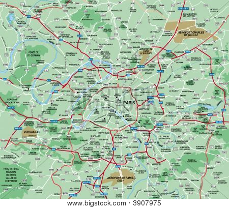 Paris, France  Metropolitan Area Map