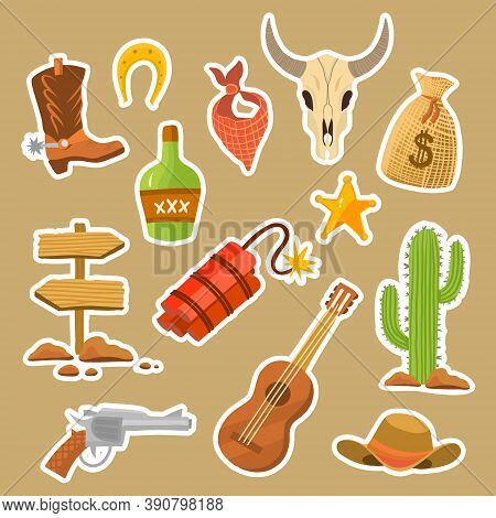 Vector Illustration Wild West Collection, Isolated Cowboy Things In Flat Style. Cowboy Boots, Bull S