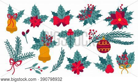 Christmas Botanical Decoration Set. Hand Drawn Leaves, Flowers And Berries, Bows And Fir Tree, Winte