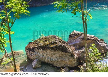 Big Stones On River Tara At Sunny Summer Day, Montenegro