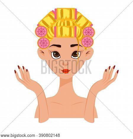 Beauty Female Head With A Curlers On Her Hair. Cartoon Style. Vector Illustration.
