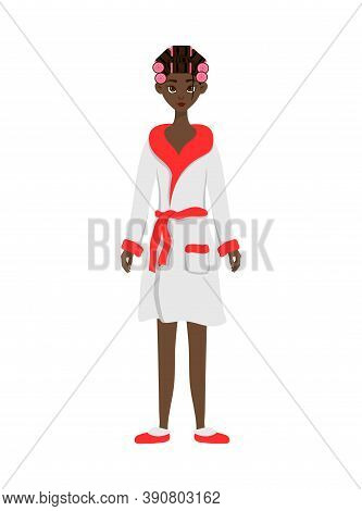 Beauty African Woman In A Bathrobe With Hair Curlers. Cartoon Style. Vector Illustration.