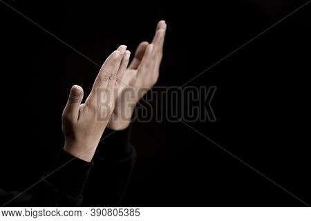 Woman\\\'s Hand Praying And Worship To God Using Hands To Pray In Religious Beliefs And Worship Chri