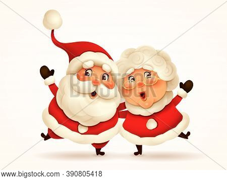 Santa Claus And His Wife Mrs Claus Arm Over Shoulder. Vector Illustration Of Christmas Character On