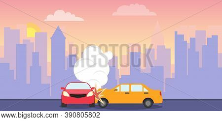 Accident, Traffic Accident, Collision Of Two Cars. Vector, Cartoon Illustration.