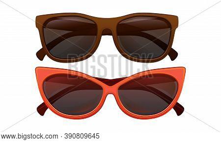 Shaped Sunglasses Or Shades As Protective Eyewear Vector Set