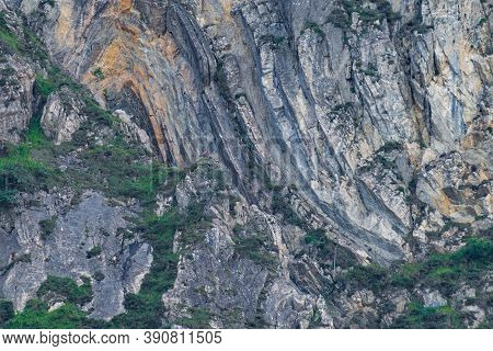 Huge Rocks And Cliffs With Chamois On Top Of Them