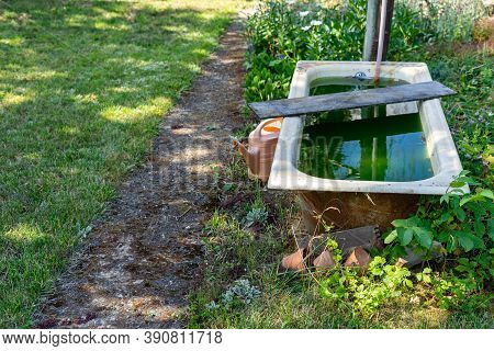 Old, Rusty And Abandoned Bathtub In The Countryside In The Garden. Water Supply For Pouring.