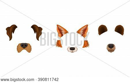 Animal Snouts And Ears For Selfie Application Vector Set