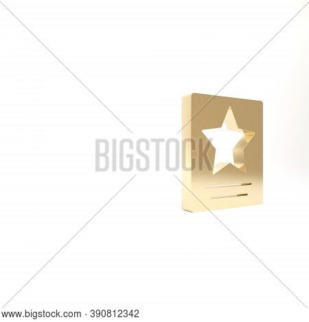 Gold Hollywood Walk Of Fame Star On Celebrity Boulevard Icon Isolated On White Background. Famous Si
