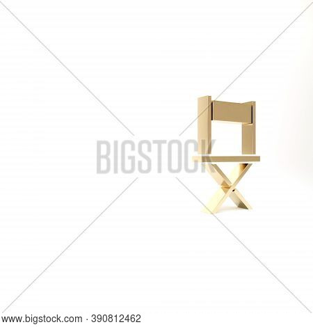 Gold Director Movie Chair Icon Isolated On White Background. Film Industry. 3d Illustration 3d Rende