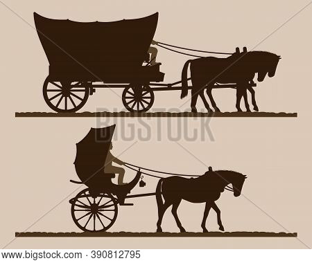 Silhouettes Of The Carriages.  Silhouettes Of Horse-drawn Carriages With Riders. Two-wheeled And Fou