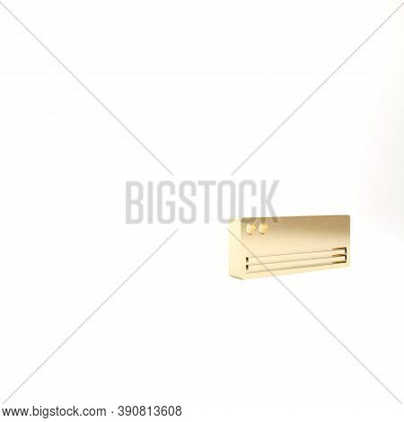 Gold Air Conditioner Icon Isolated On White Background. Split System Air Conditioning. Cool And Cold