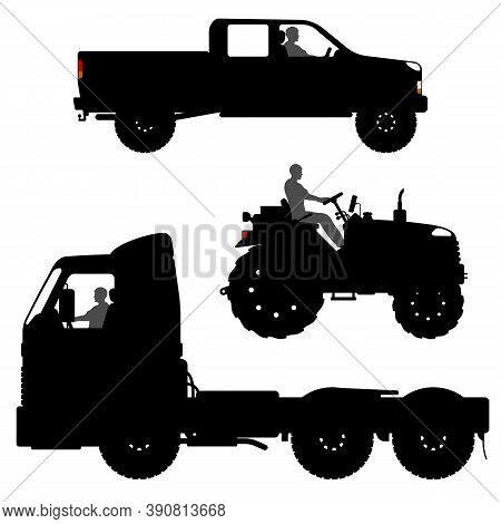 Set Of Different Transport Silhouettes. Black Truck Silhouette Isolated On White Background. Tractor