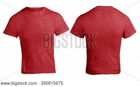 Red Heather Color T-shirt Mock Up, Front And Back View, Isolated. Plain Red Shirt Mockup. Shirt Desi