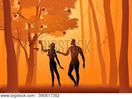 Biblical Vector Illustration Of Adam And Eve, A Serpent Deceives Eve Into Eating Fruit From The Forb