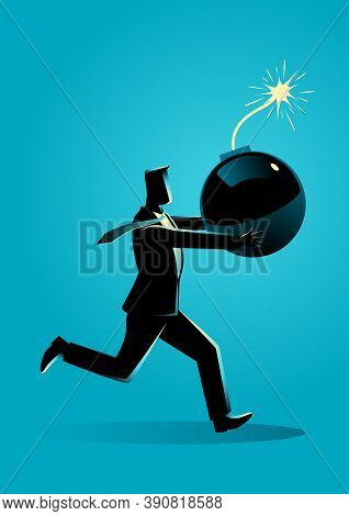 Business Concept Vector Illustration Of A Businessman Running Panic With Bomb In His Hand Which Read