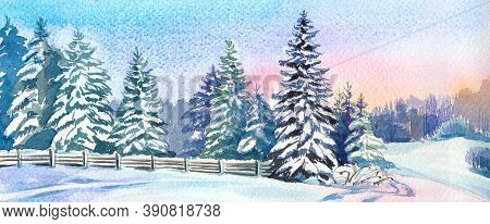 Forest Edge With Snow-covered Fir Trees At Sunset In Watercolor. Low Fence Along The Forest, Traces
