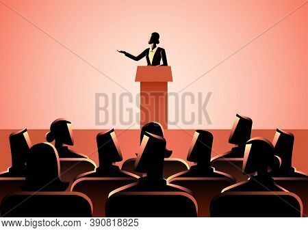 Business Concept Illustration Of Businesswoman Giving A Speech On Stage. Audience, Seminar, Conferen